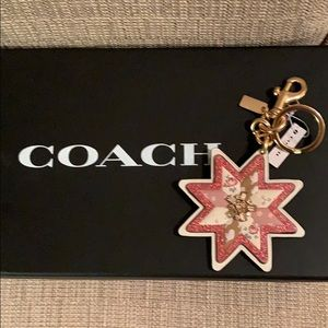 Coach Bag Charm Keychain Mixed Patchwork Star